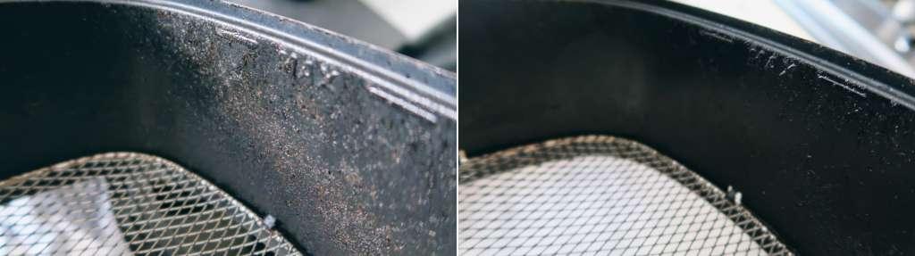 HG airfryer reiniger resultaat schoon airfryer vuil verwijderen aanbaklaag aangekoekt - Mama's Meisje blog