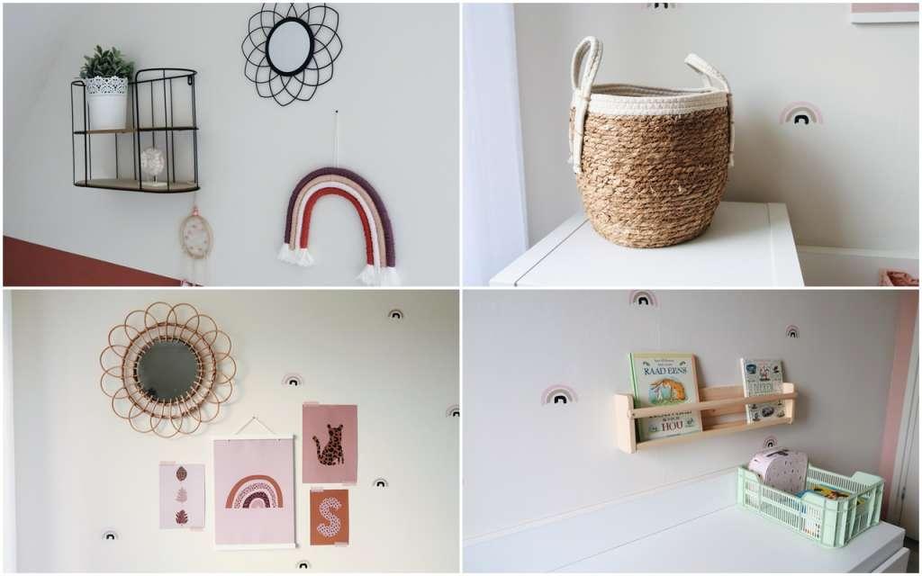 collage accessoires kinderkamer rotan spiegel ronde mand regenboog wandplankje boekenplank kratje - Mama's Meisje blog