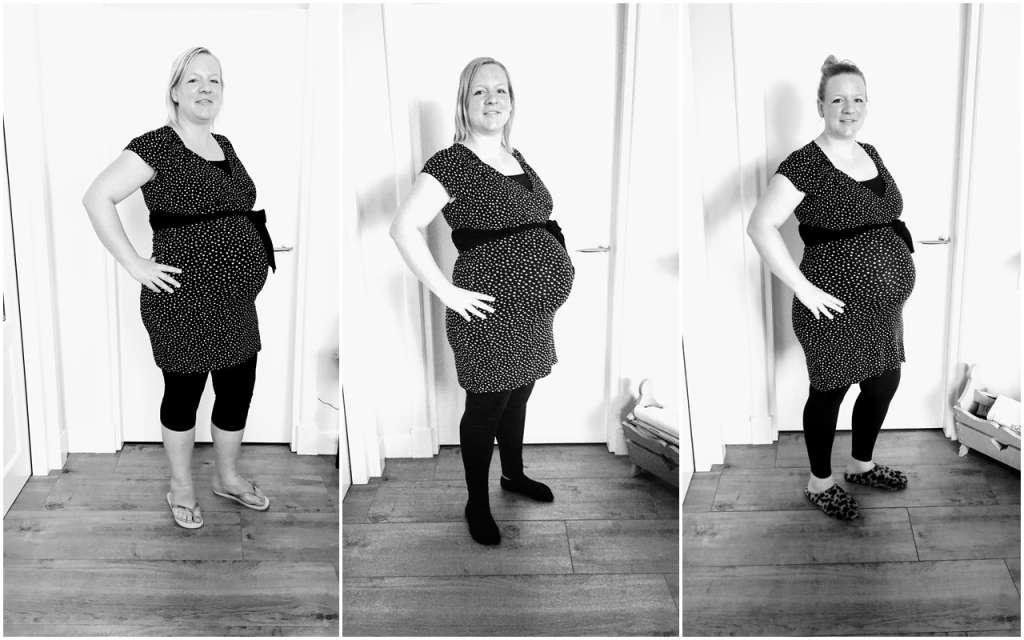 collage 3 zwangerschappen vergelijkfoto - Mama's Meisje blog