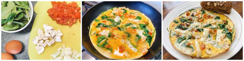 omelet met spinazie tomaat ui champignons recept lunchtip - Mama's Meisje blog