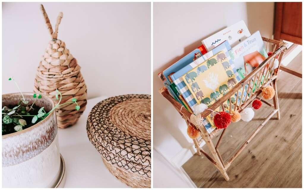 speelhoek woonkamer accessoires rotan kindvriendelijke plant niet giftig rotan mand boekenrek bamboe - Mama's Meisje blog