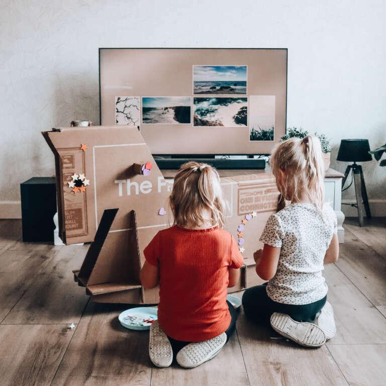 Knutselen met kartonnen doos dit maakten wij van de verpakking van de Samsung Neo QLED tv (+ review!) - Mama's Meisje blog